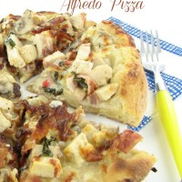 Take pizza to a new level with this chicken bacon alfredo pizza recipe.