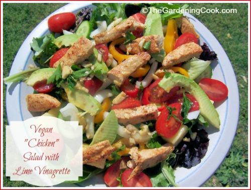 """Vegan """"Chicken"""" Salad with Lime Vinagrette"""
