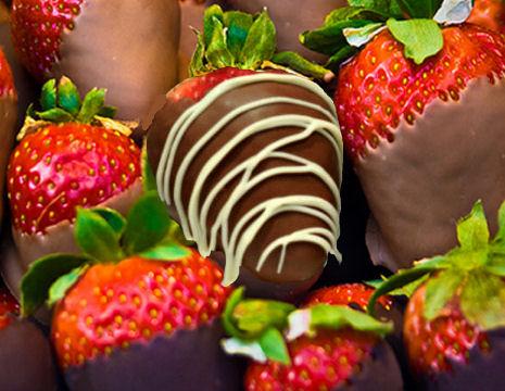 drizzled dark chocolate strawberries.