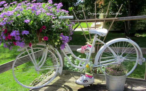 Bicycle planter with tennis shoes as well!
