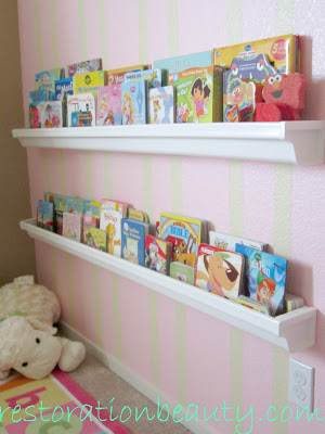 Rain gutter book shelves diy home decor project cheap for Easy cheap diy home projects