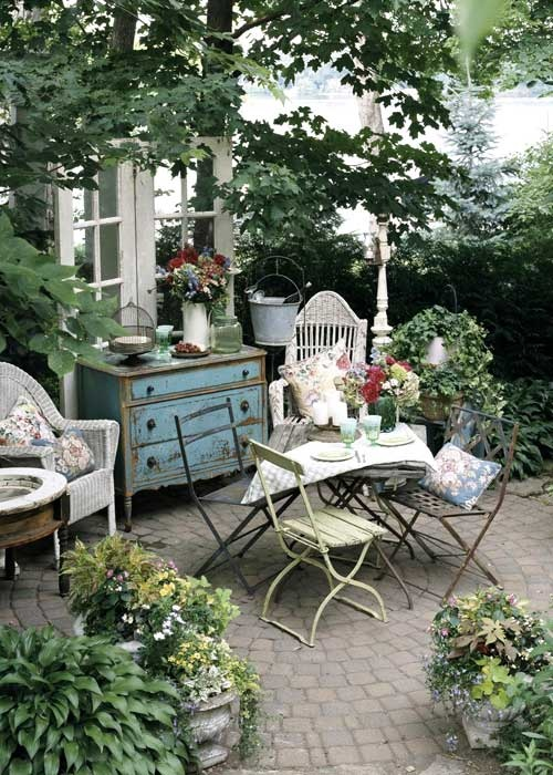 Backyard Retreat Ideas gazebo at night with outdoor lighting Lovely Cottage Chic Effect With A Small Distressed Dresser And Table Setting Perfect For Morning Brunch Most Of The Decor Could Be Obtained From Yard