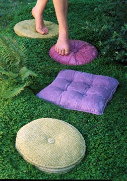 Stepping stones that look like pillows.