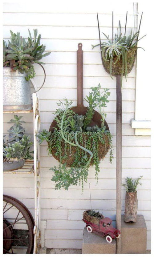 tools as garden art