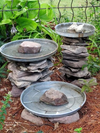 Stone Stacked Bird Bath from ourfairfieldhomeandgarden.com