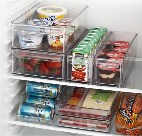 Clear stackable bins in the fridge