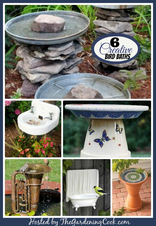 8 Creative and whimsical bird baths made from ordinary household items.  What do you have that might be made into a bird bath?  #birdbaths