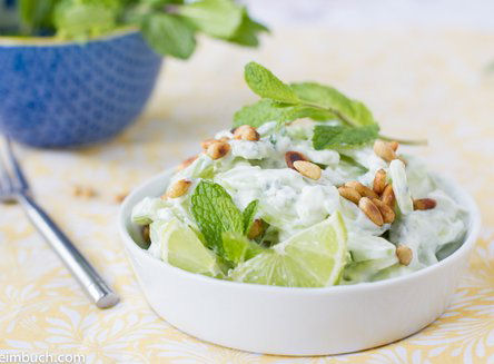 Cucumber salad with honey lime yoghurt