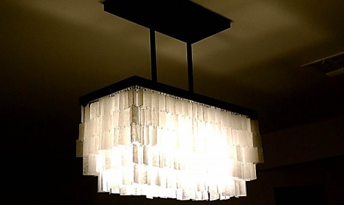 DIY chandelier made of wax paper