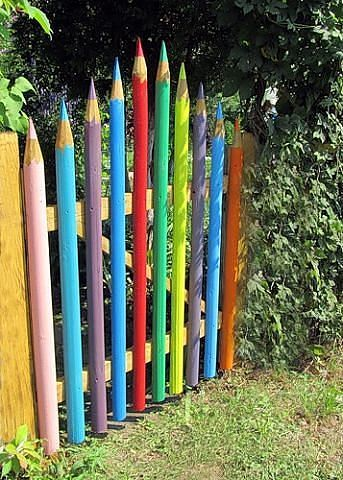Gates made to look like pencils.