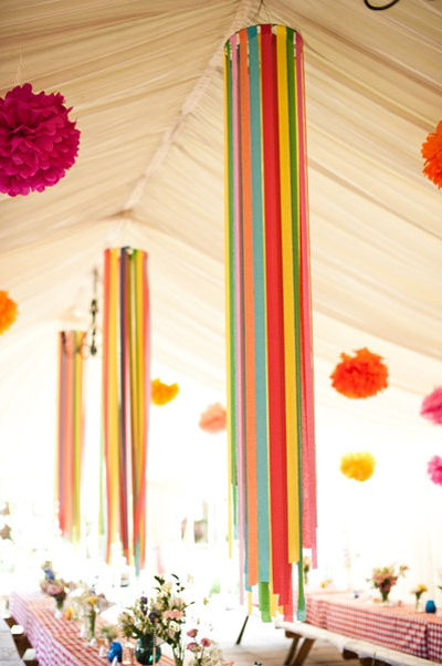 Easy DIY crepe paper chandelier