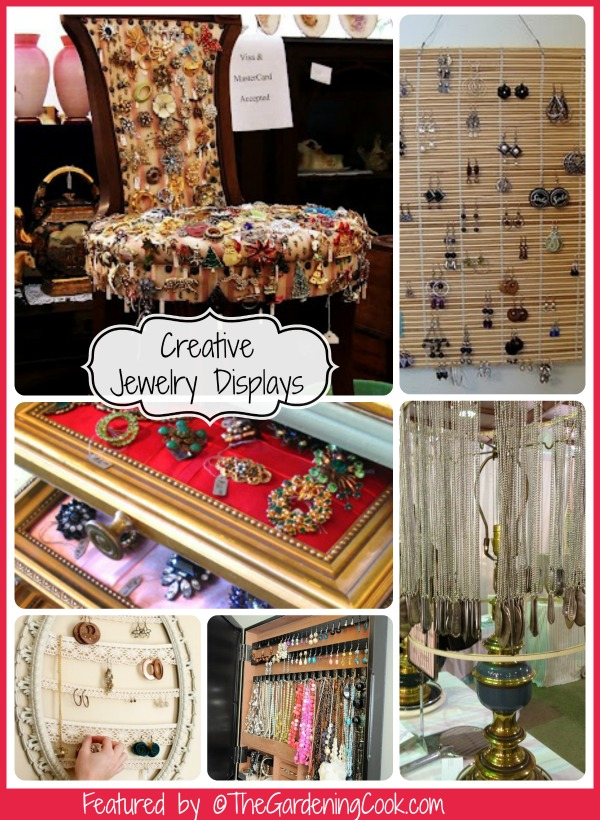 Creative jewelry displays made from recycled materials.