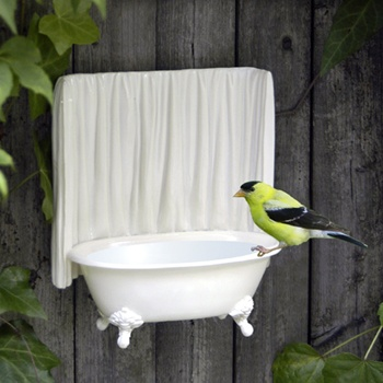 Mini Bird Bath with Real Tub from indulgy.com