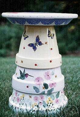 Stonewear Pottery Bird Bath from patriciaspots.com