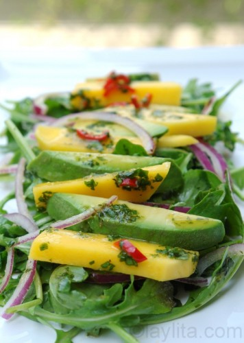Avocado Mango and Arugula Salad
