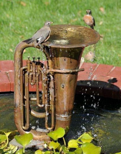 Old Tuba Bird Bath from plantinghappinessblog.wordpress.com