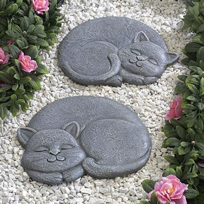 Creative Garden Ideas how to make a mini wildlife stack for your garden Cute Cat Stepping Stones