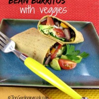 Kidney Bean and pinto bean burritos with veggies.