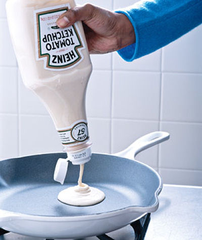 Ketchup bottle as a pancake dispenser