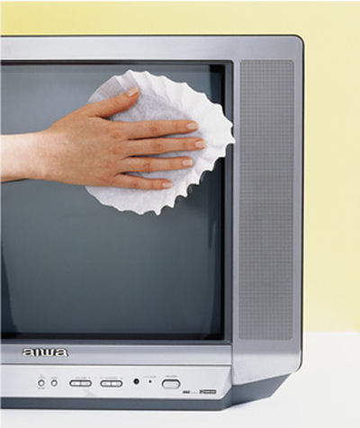 Coffee filters as screen cleaners.