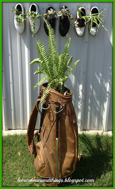Golf bag and shoe planter
