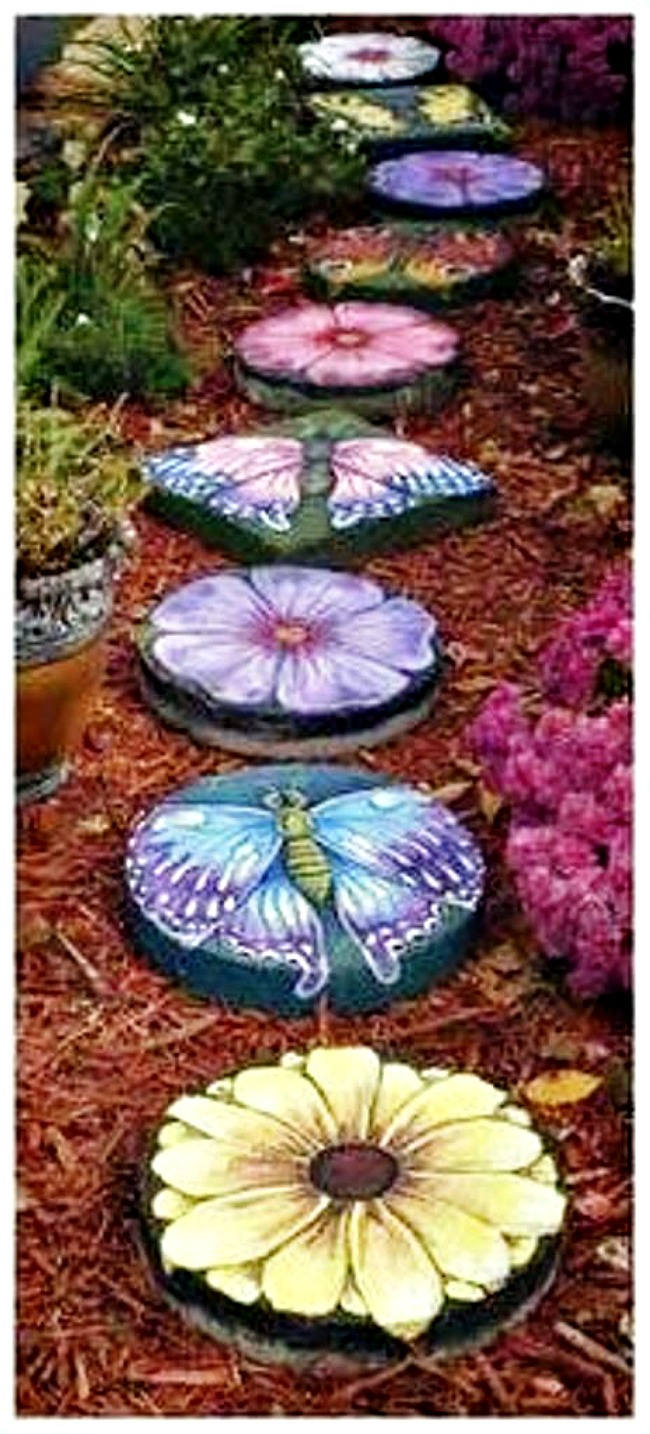 Butterfly garden stones from Lin Wellford
