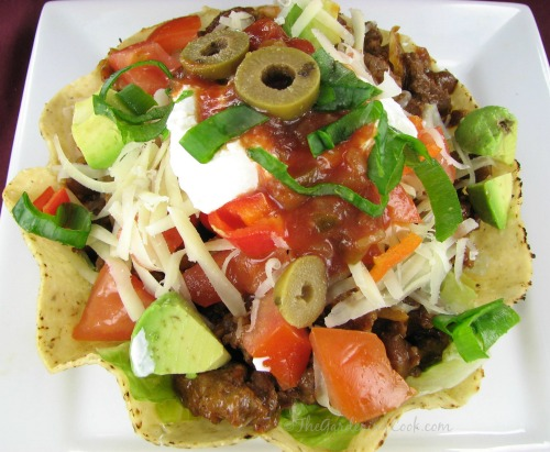 Taco salad in edible tostado bowls