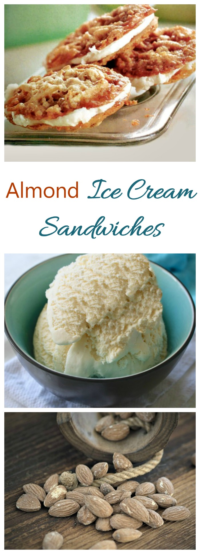 This almond ice cream sandwich has two home made almond cookies filled with creamy vanilla ice cream. Perfect way to beat the summer heat!