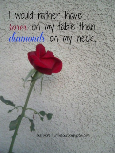 I would rather have roses on my tables than Diamonds on my neck