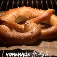 Home made pretzel. Add cinnamon sugar and whipped cream for a taste sensation.