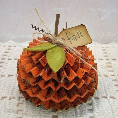 Folded paper DIY Fall pumpkin Decor project from scrapbookexpo.com