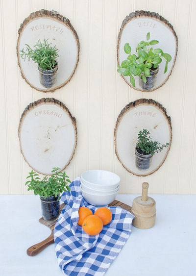 Herb Gardens on wood plaques make a great decoration.