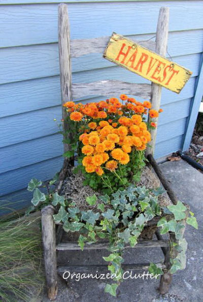 Cute use of an old chair, a sign and some plants and you have a great decoration for fall.