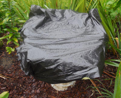 Bird bath being cleaned is covered with a black plastic bag.