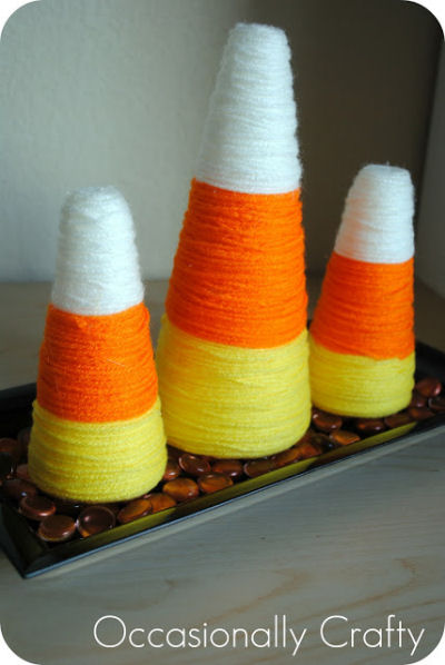 Halloween Yarn Wrapped Candy corn Decoration