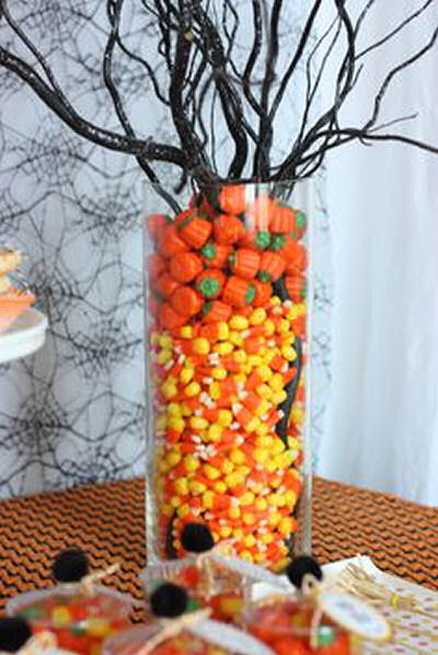 Candy Corn and Black tree DIY centerpiece