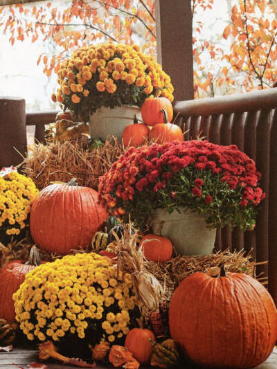 Fall porch or patio pumpkin display with bales of hay