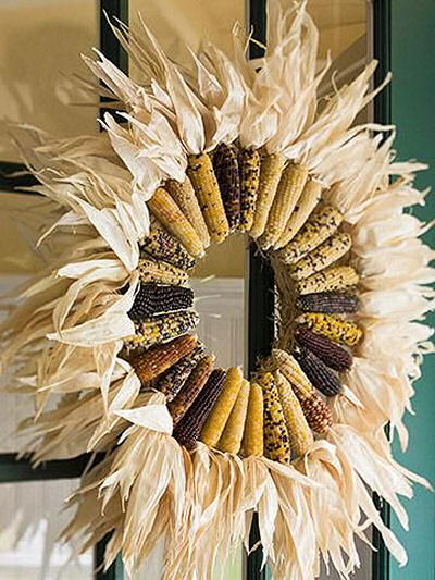 Indian Corn Wreath with cobs and sheaths