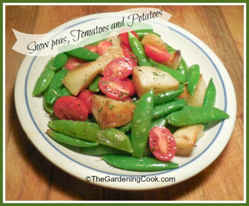 Snow Peas, Tomatoes and Roast Potatoes