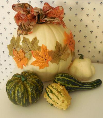 Autumn leaf pumpkin and gourds.