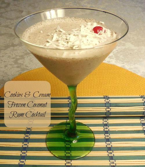 Cookies & Cream Frozen Coconut Rum Cocktail - The Gardening Cook