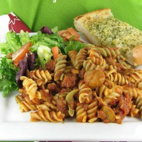 Rotini Pasta & Beef Sauce with Mushrooms