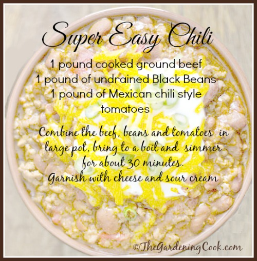 Super easy 3 ingredient chili. See more easy recipes at thegardeningcook.com/fast-easy-meals