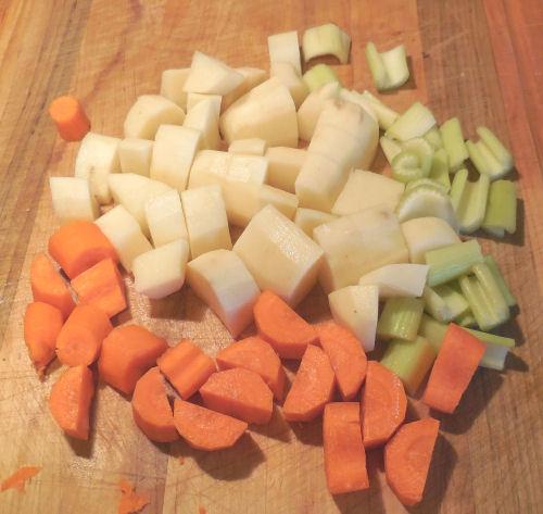 cubed vegetables