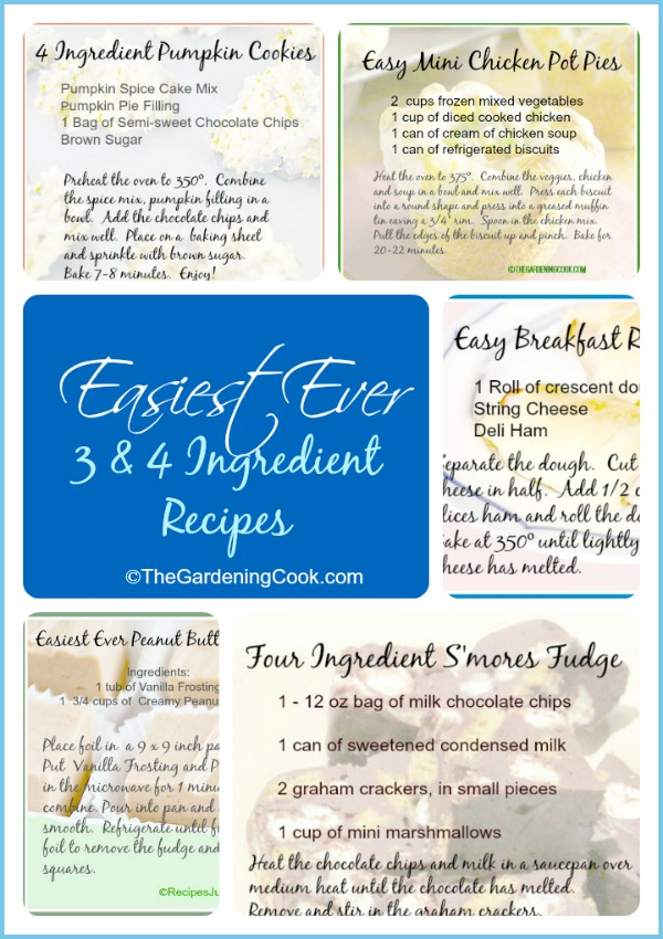 Great collection of easy 3 and 4 ingredient main courses, breakfasts and desserts
