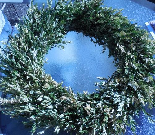 Dried boxwood wreath