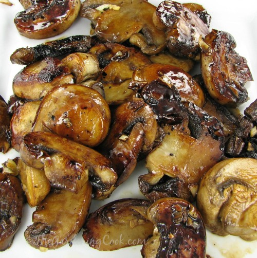 Caramelized Mushrooms with balsamic and brown sugar.  So delicious.