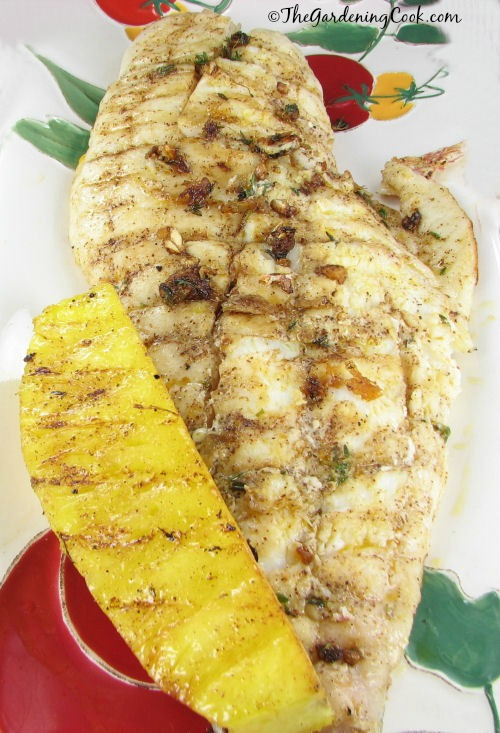 Perfect for your next camping trip.  Caribbean snapper with grilled pineapple was cooked on a campfire safe fish griller and tastes delicious. Get the recipe at thegardeningcook.com/carribean-grilled-snapper-pineapple-great-camping-recipe
