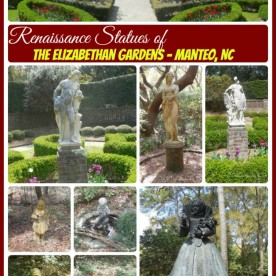 The Elizabethan Gardens in Manteo, NC have some wonderful renaissance statues that accent the gardens. See more of these beauties at thegardeningcook.com/