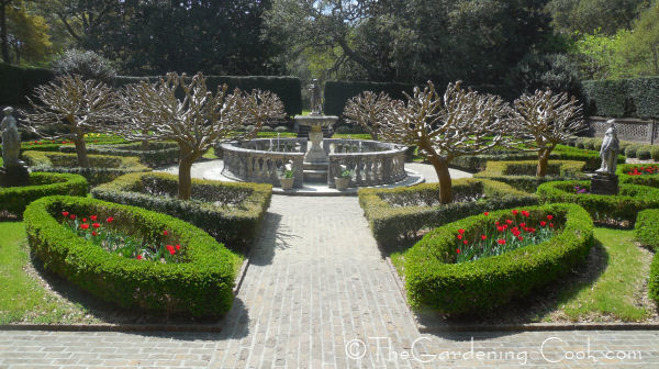 Foundtain area in the entry to the formal gardens